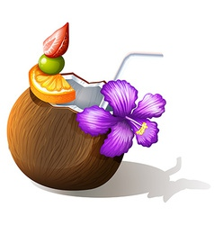 A refreshing coconut juice vector