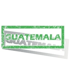 Green outlined guatemala stamp vector