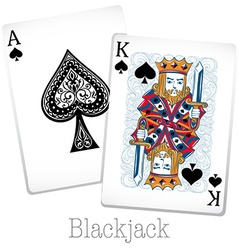 Blackjack cards with king and ace vector image