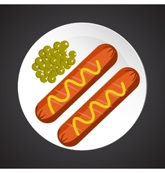 Sausage with peas vector