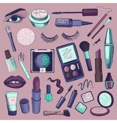 Hand drawn beauty and makeup icons set vector