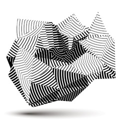Complicated abstract grayscale 3d striped shape vector