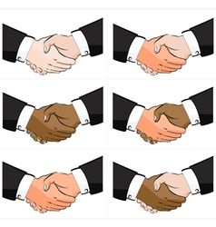 6 business handshake set vector
