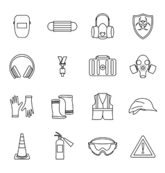 Safety icons set thin line style vector
