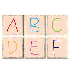 A to F alphabets set 1 vector image vector image