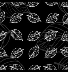 abstract doodle leaves seamless pattern design vector image vector image