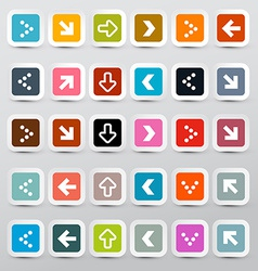 Arrows set on colorful square papers vector