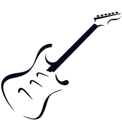 Black silhouette of electric guitar vector image vector image