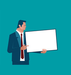 businessman holding chalk board vector image vector image
