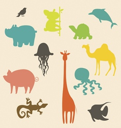 Cartoon animals silhouettes vector