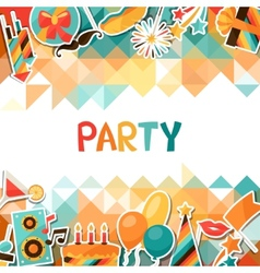 Celebration background with party sticker icons vector image vector image