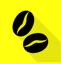 coffee beans sign black icon with flat style vector image vector image