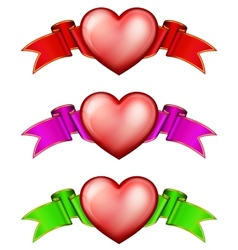 Collection hearts with ribbon vector image