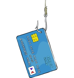 credit card on the hook vector image vector image