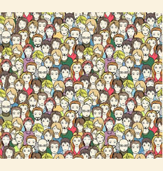 crowd seamless pattern vector image vector image