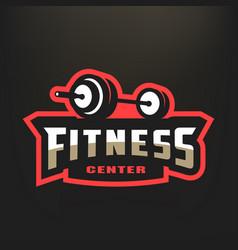 Fitness center sport logo on a dark background vector