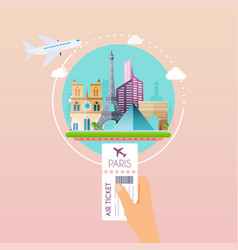 hand holding boarding pass at airport to paris vector image vector image
