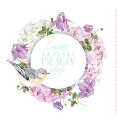 hydrangea bird round logo vector image vector image