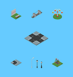 isometric architecture set of aiming game swing vector image