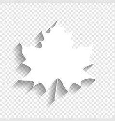 Maple leaf sign white icon with soft vector