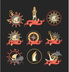 Marine set of badges vector image