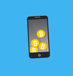 mobile phone bitcoin payment concept vector image vector image