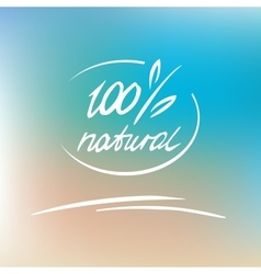 natural label logo 100 percent natural vector image