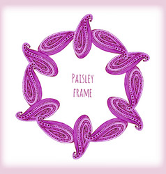Pink traditional floral frame in indian style vector