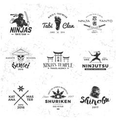 Set of japan ninja logo sensei skull insignia vector