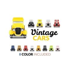 Set retro car icon vector