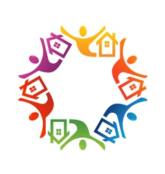Teamwork people house vector image vector image