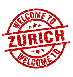 Welcome to zurich red stamp vector