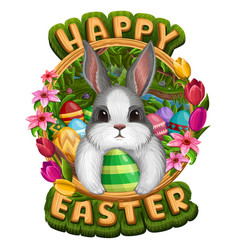 white bunny in frame with eggs vector image