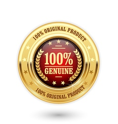100 percent genuine product - golden insignia vector