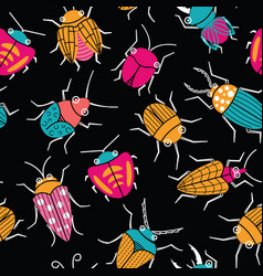 Small funny bugs seamless pattern vector