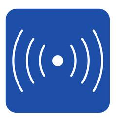 Blue white sign - sound vibration symbol icon vector