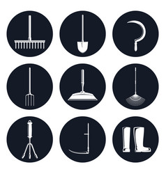 Set of round icons garden equipments vector