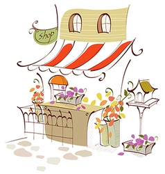 Creative shop front scene vector