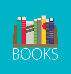 Flat bookshelf modern design vector