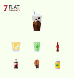 Flat icon drink set of bottle soda carbonated vector