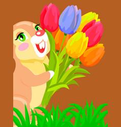 Cute bunny holding bouquet of tulip cartoon vector