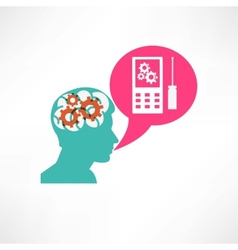 Gear in head cellphone icon vector image