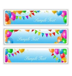 Holiday banners with balloons vector