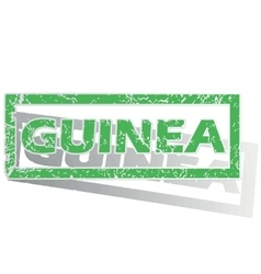 Green outlined guinea stamp vector