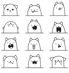 Set of 12 different emotions cat anime doodle vector