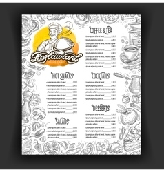 Restaurant menu design template food vector