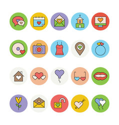 Love and romance colored icons 4 vector