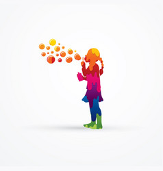 a little girl blowing soap bubbles graphic vector image vector image
