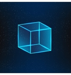 Blue glass cube vector image vector image
