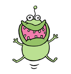 Cartoon green germ jumping with happiness vector